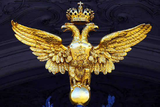 The two-headed imperial eagle presides over the gate of the State Hermitage Museum, Saint Petersburg.