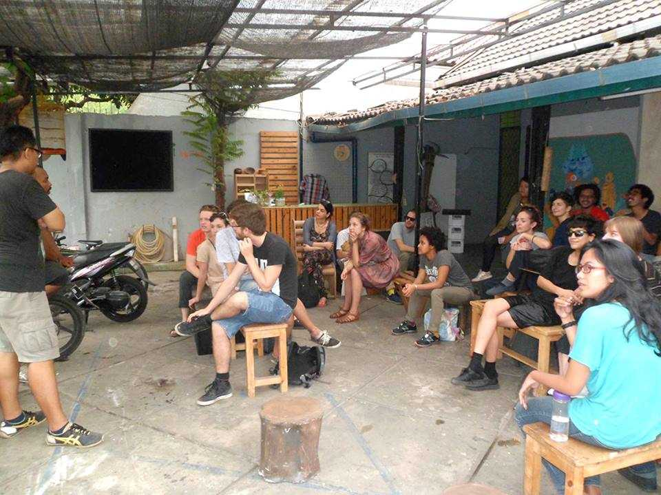 The Practicing With Institutions, Instituting Practice ll -group at ruangrupa's homebase in Jakarta. November, 2015