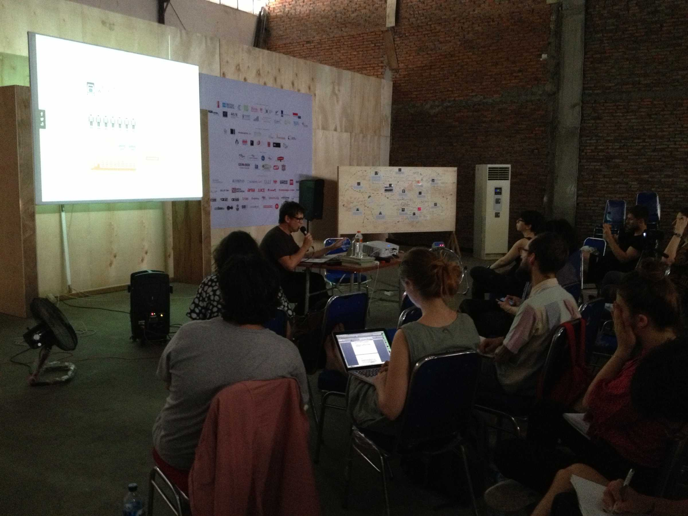 Brett Neilson lecturing at the Jakarta Biennale 2015 upon an invitation by DAI's theory tutors Rachel O'Reilly and Marina Vishmidt.