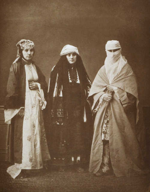 Three women, Jewish, Bulgarian and Muslim in 1873 in Ottoman Thessaloniki.