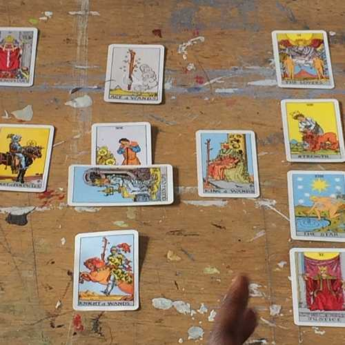 A shot from the tarot reading Denise Ferreira da Silva did for the Dutch Art Institute class during her guest tutorial on Friday, 10 March 2017. Images courtesy Clementine Edwards.