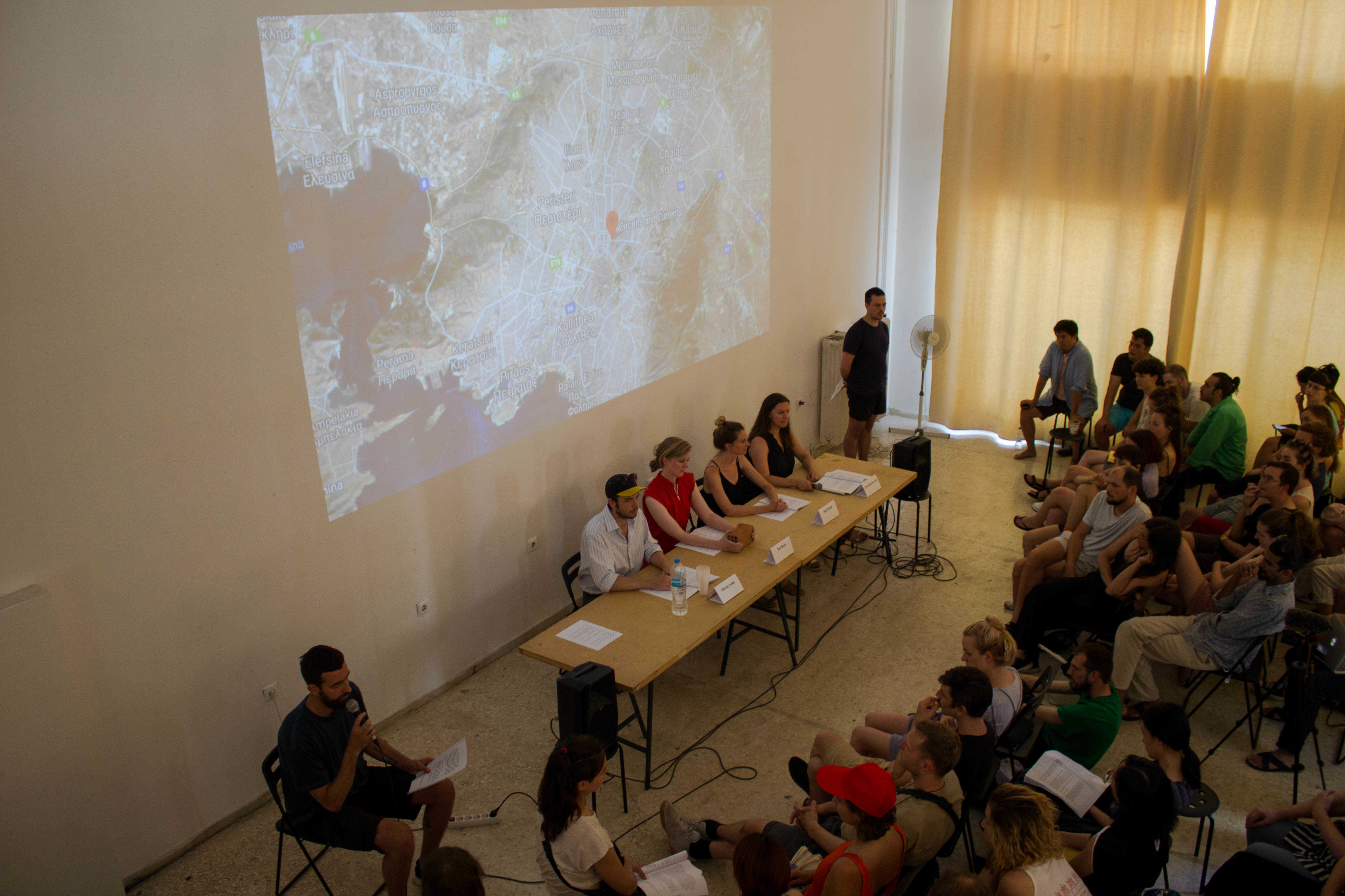COOP Summit 2018: Presetation by the REALTY study group at the Circuits & Currents Project Space of the Athens School of Fine Arts, on the 2nd of June. Photo: Silvia Ulloa for DAI Roaming Academy.