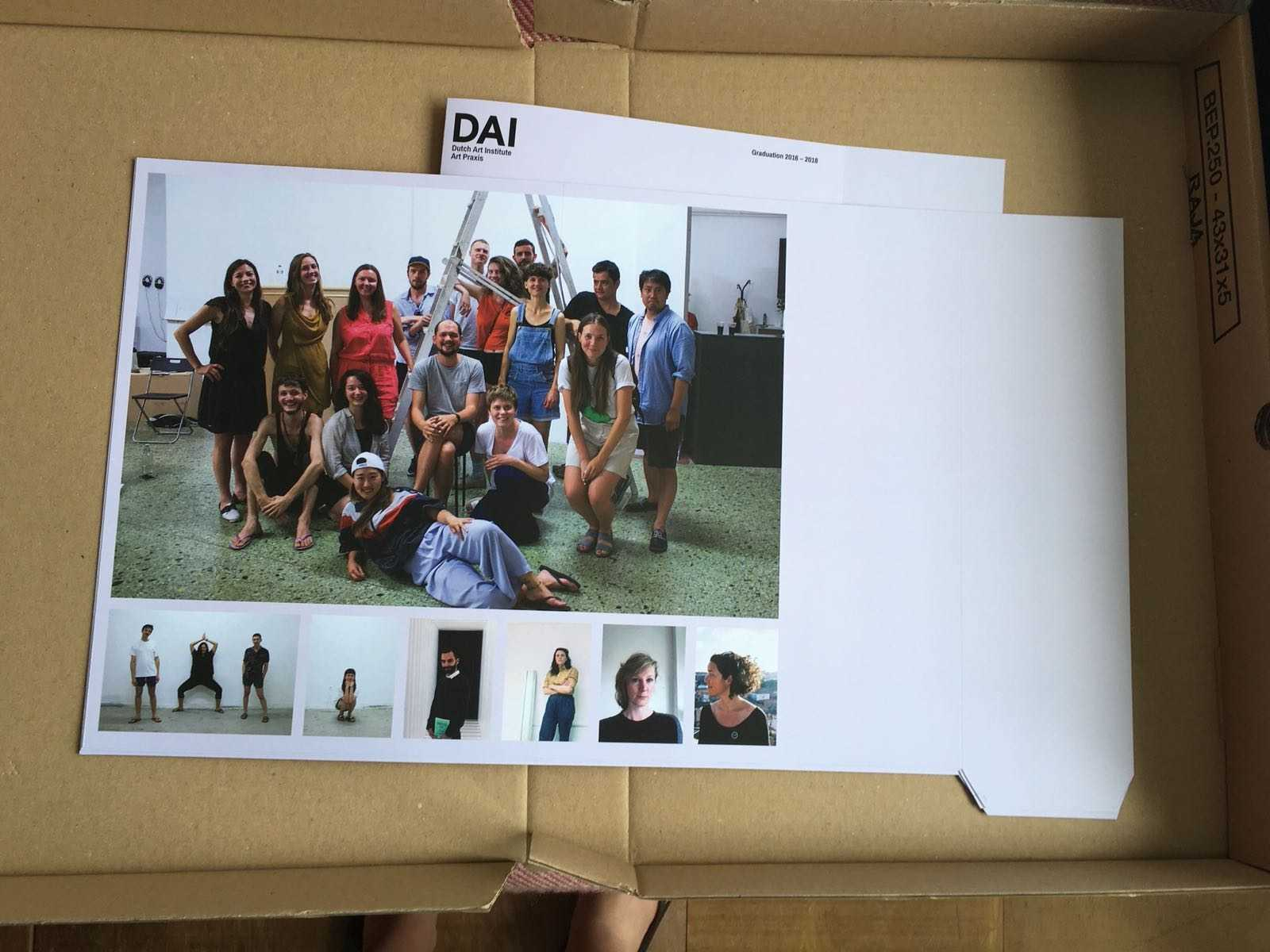 DAI Graduation Booklet 2018 in the making. Design: Lauren Alexander & Hanna Rullmann.Group portrait: Silvia Ulloa for DAI in Athens, May 2018.