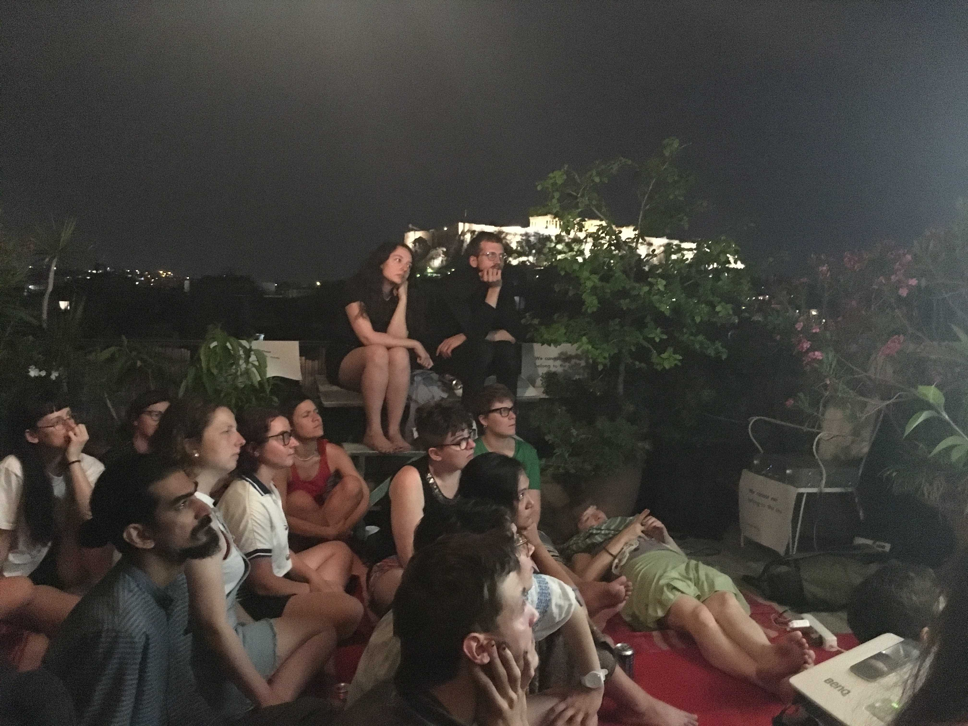 Film screening by DAI student Areumnari Ee during Rooftop Symposium - ISLANDTHINKING - in Exarcheia, Athens ~ Hosted by DAI Student Yen Noh and Alexander Seferiades