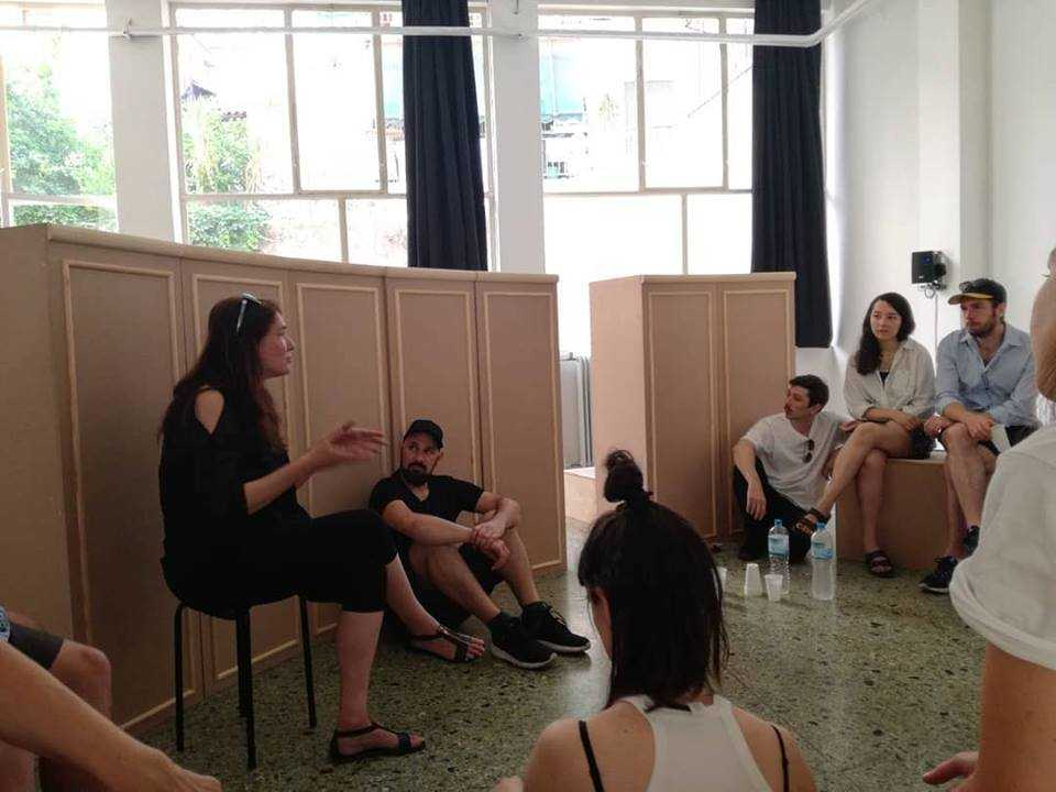 State of Concept: DAI alumna Yota Ioannidou sits in, and speaks about her installation A Case of Perpetual No. With Nikos Doulos and graduating DAI-students 2018. Athens, May 2018.
