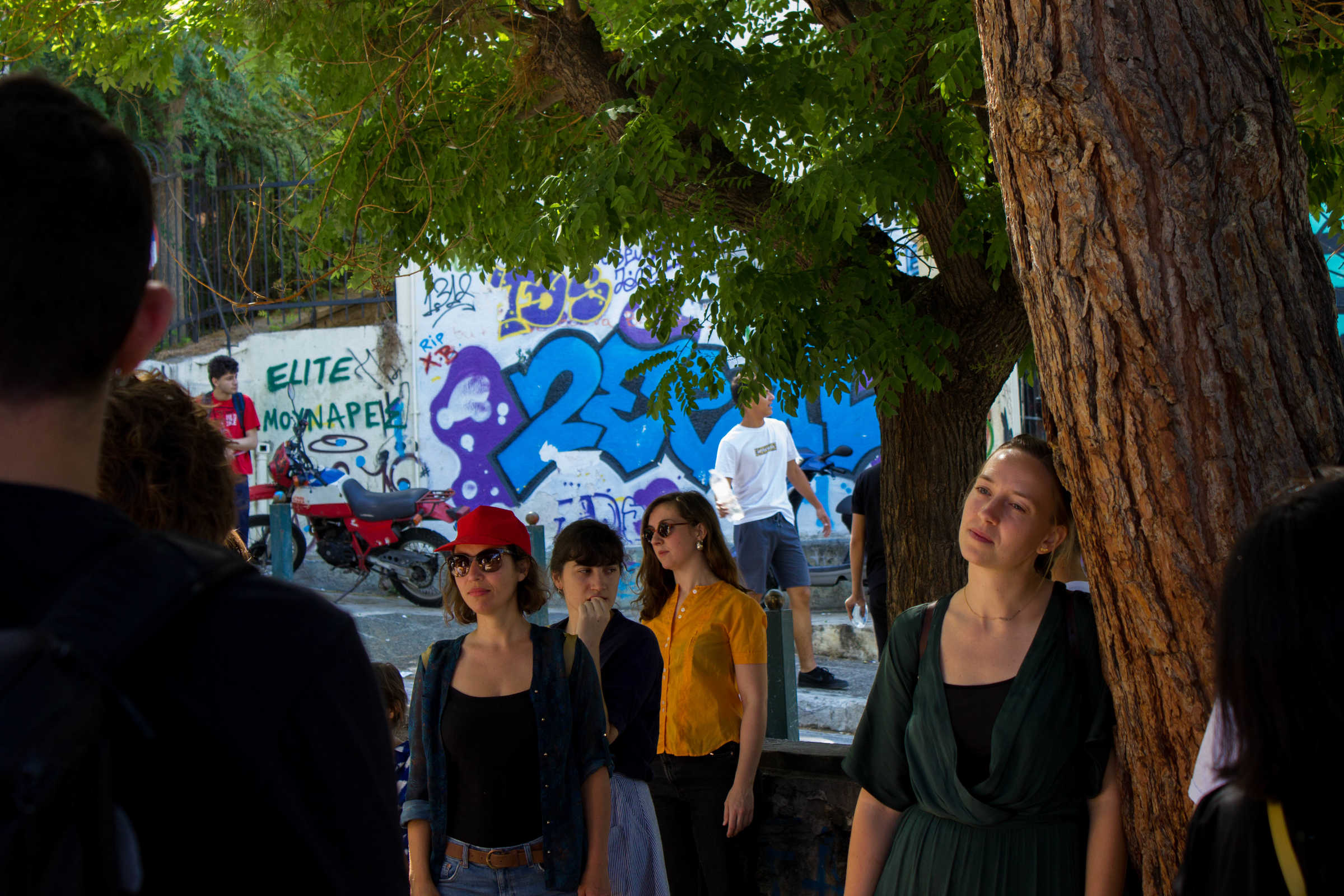 COOP SUMMIT 2018: Final presentation of the Curating Positions study group, COOP Summit 2018: A curated walk up and down hilly Neapoli (Athens), filled with different performances in communal gardens, residential houses and narrow pathways. June 2018, Athens. Photo by Silvia Ulloa.