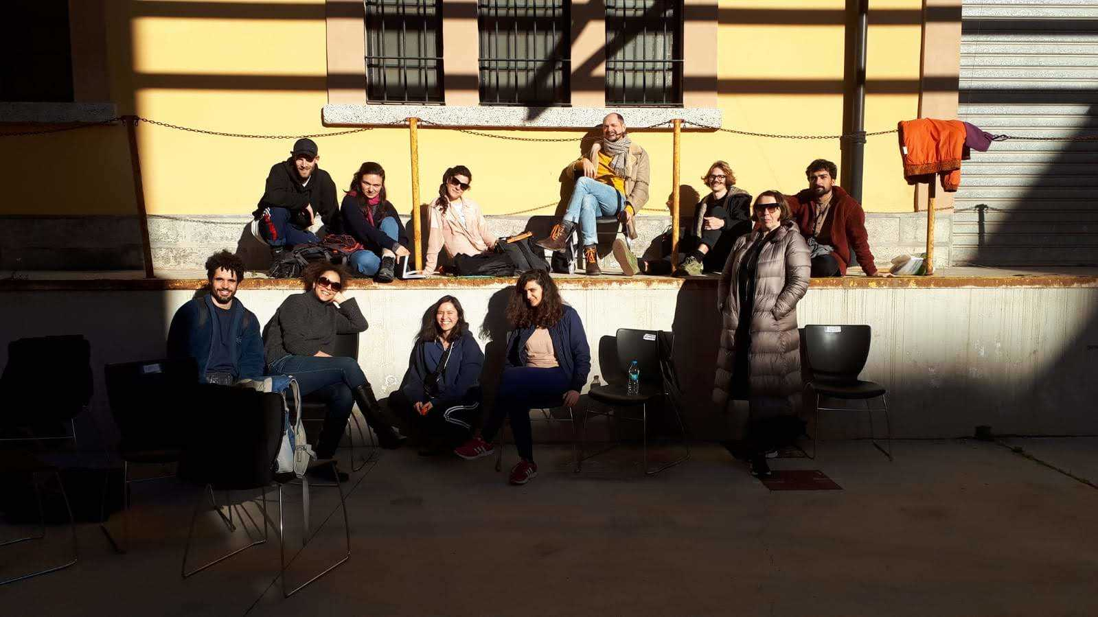The Curating Positions: Logics of Montage - study group at the Ex Manifattura Tabacchi in Cagliari. January 2019. Photo credit: Nikos Doulos.