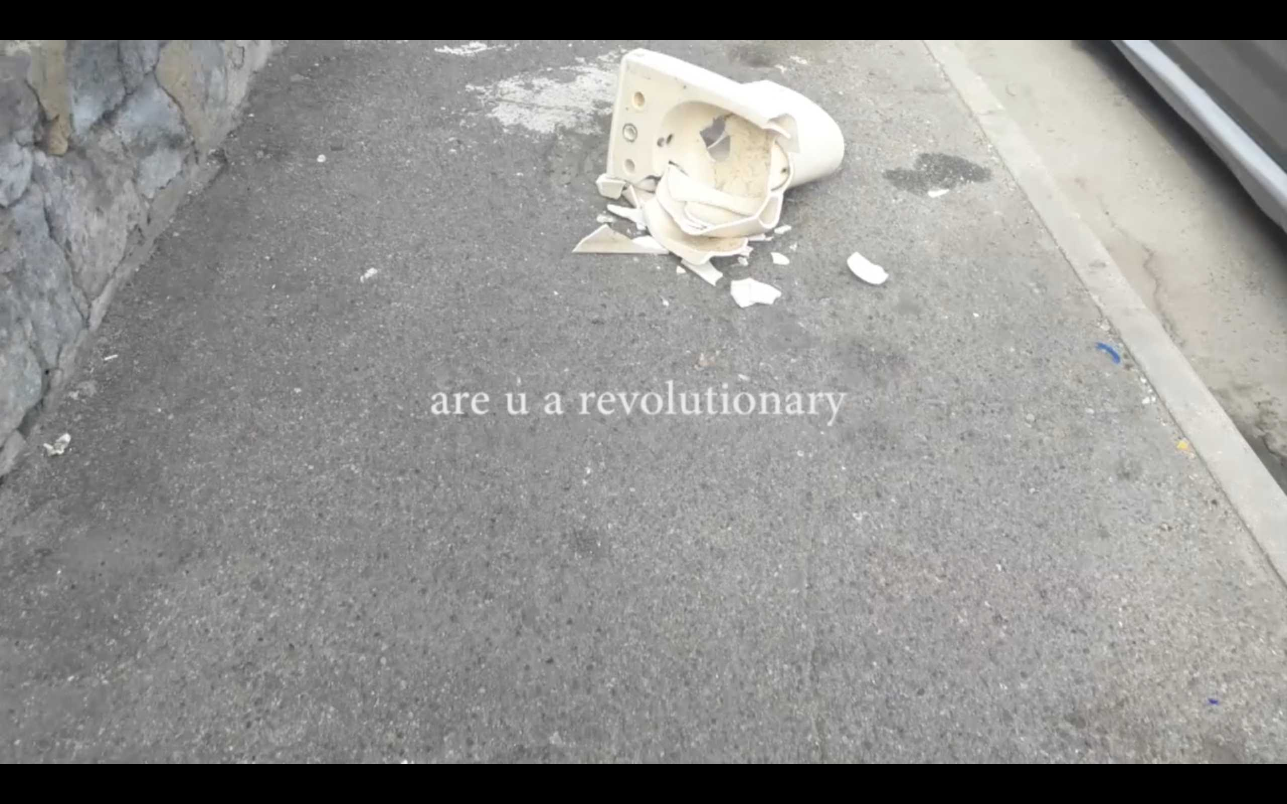 'Are You Revolution' video still from January Chronicle by Clara Saito, Cagliari 2019