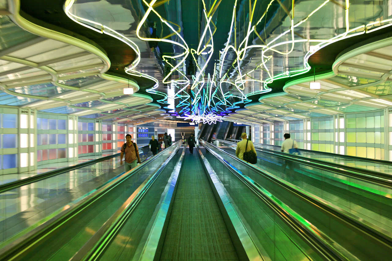"Michael Hayden. ""The Sky is the Limit."" Neon installation, O'Hare International Airport, 1987. Thanks to Leeron Tur-Kaspa"