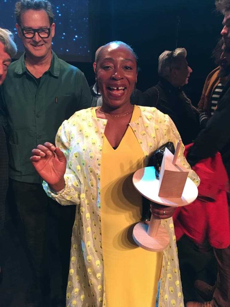 Otobong Nkanga during the prize celebration at AB in Brussels, 5th February 2019