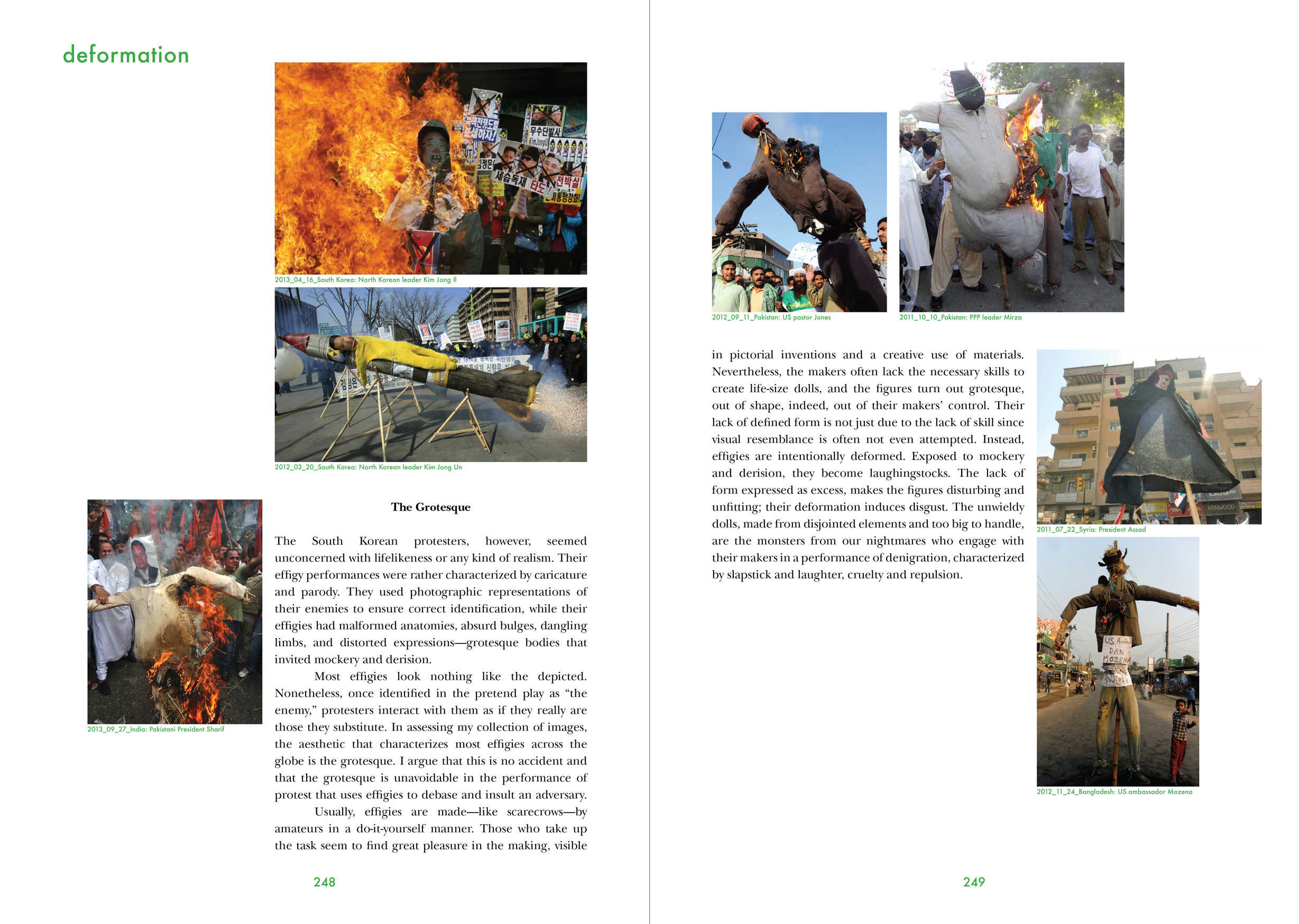 Two pages from Florian Göttke's dissertation Burning Images: Performing Effigies as Political Protest. UvA / DAI.  April, 2019.