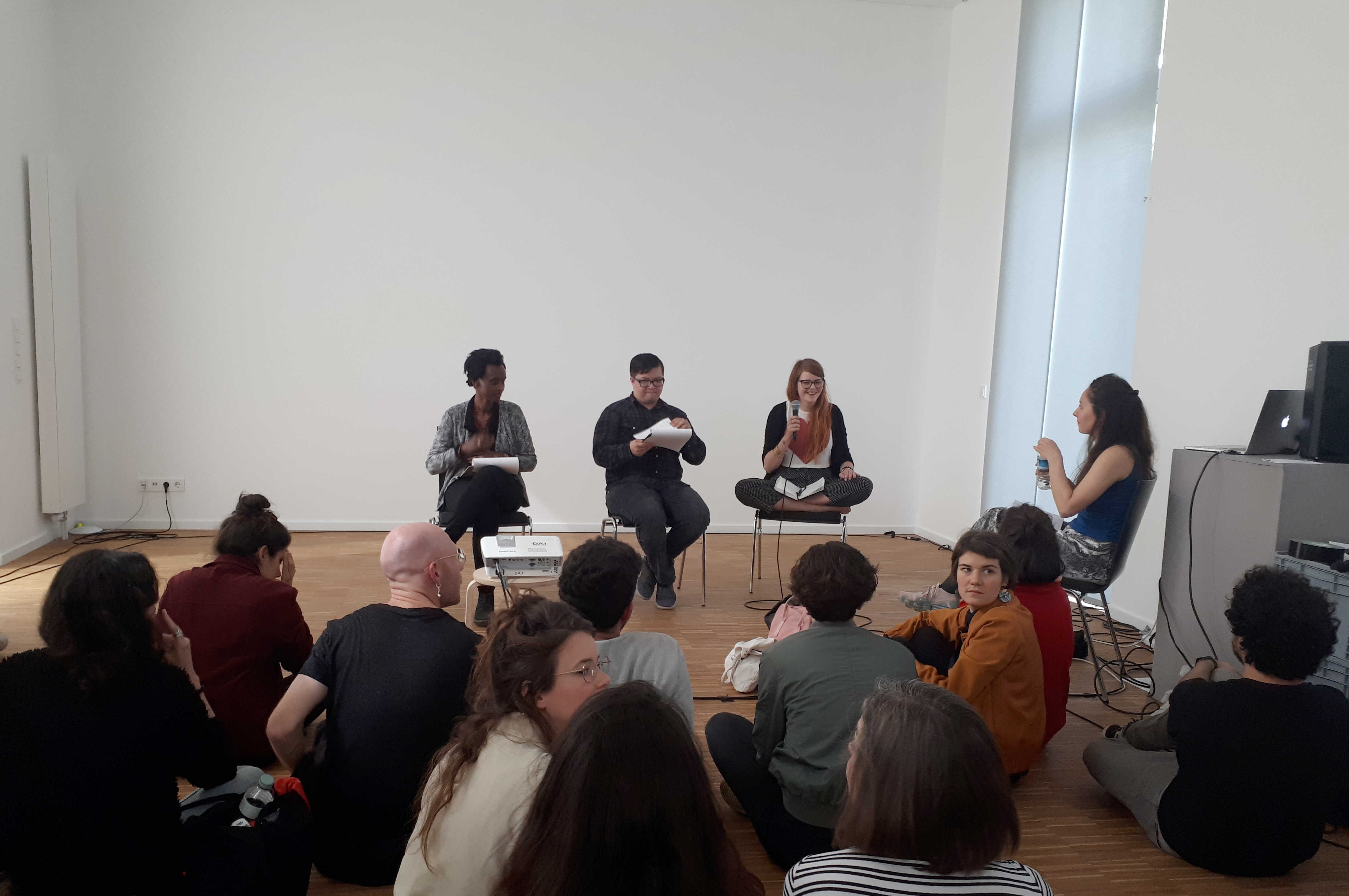 Sebastian de Line, Arlette-Louise Ndakoze & Bethany Crawford responding at Lea Ruegg's Final Kitchen presentation, Silent Green, Berlin