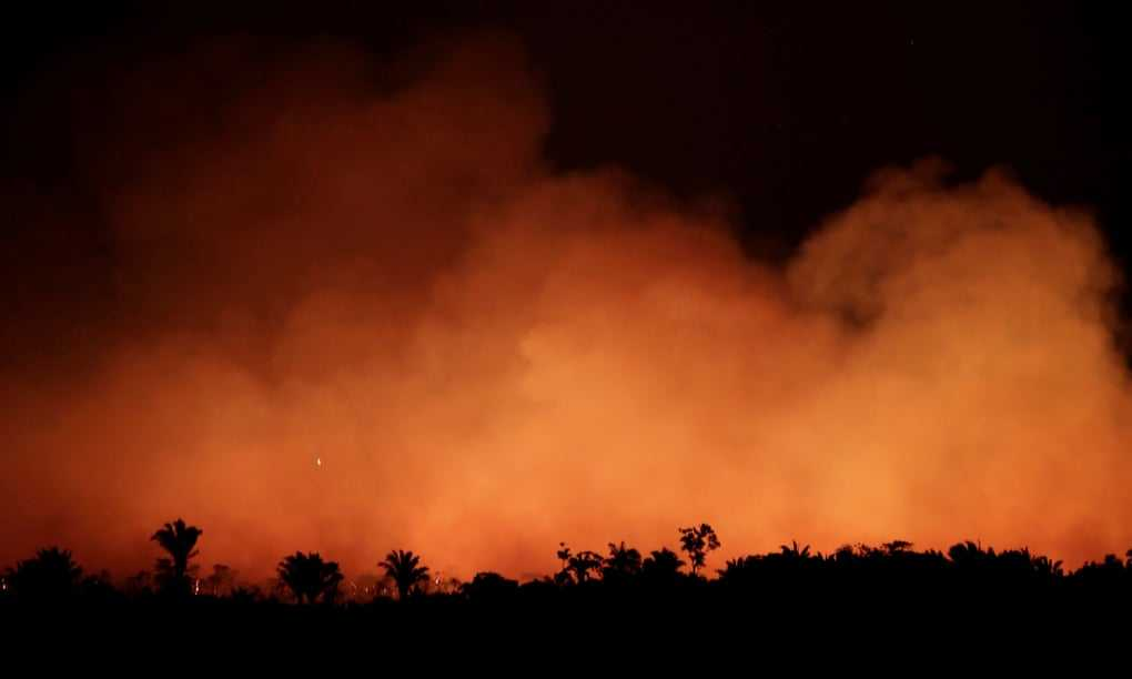 A fire in the Amazon rainforest near Humaita: 'This month, fires are incinerating the Amazon at a record rate, almost certainly part of a scorched-earth strategy to clear territory.' Photograph: Ueslei Marcelino/Reuters