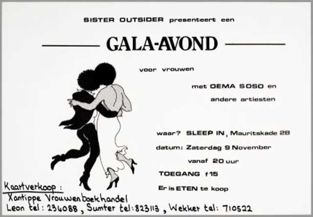 Image: Sister Outsider presents gala night for women, 1986, flyer by Jo Nesbitt