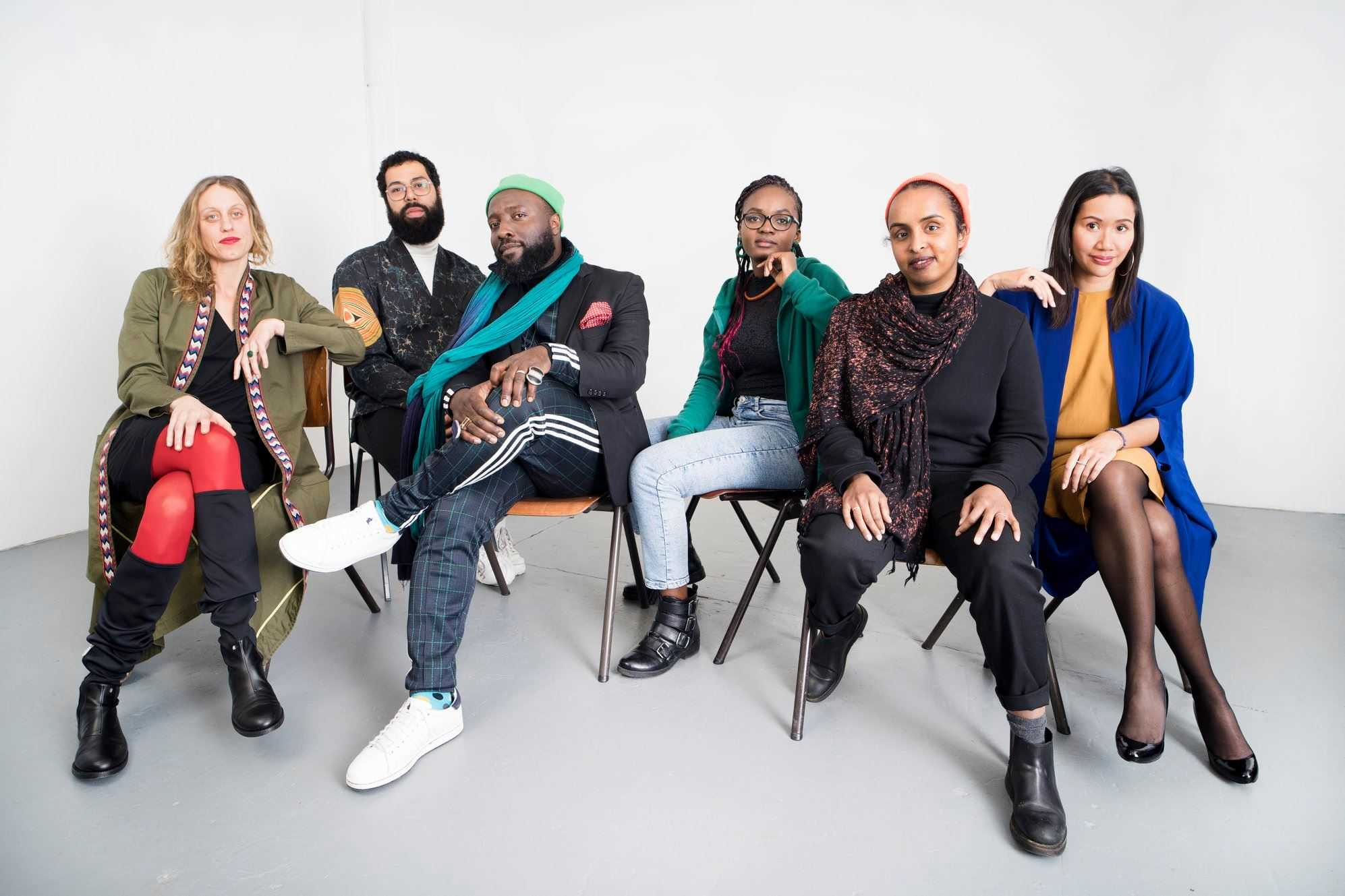 sonsbeek 20—24 curatorial team. From left to right: Antonia Alampi, Vincent van Velsen,  Bonaventure Soh Bejeng Ndikung, Aude Mgba, Amal Alhaag and Zippora Elders. Photo by Studio Julius Thissen