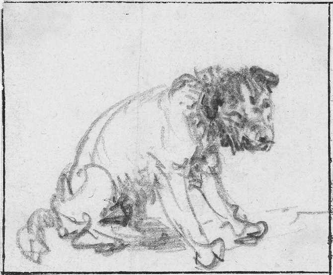 Rembrandt Harmensz van Rijn, Study Of A Sitting Dog, 1637, black chalk on paper, 82 x 99 mm  Inventory number: Z 719 Source: virtuelles-kupferstichkabinett.de, Braunschweig, Germany